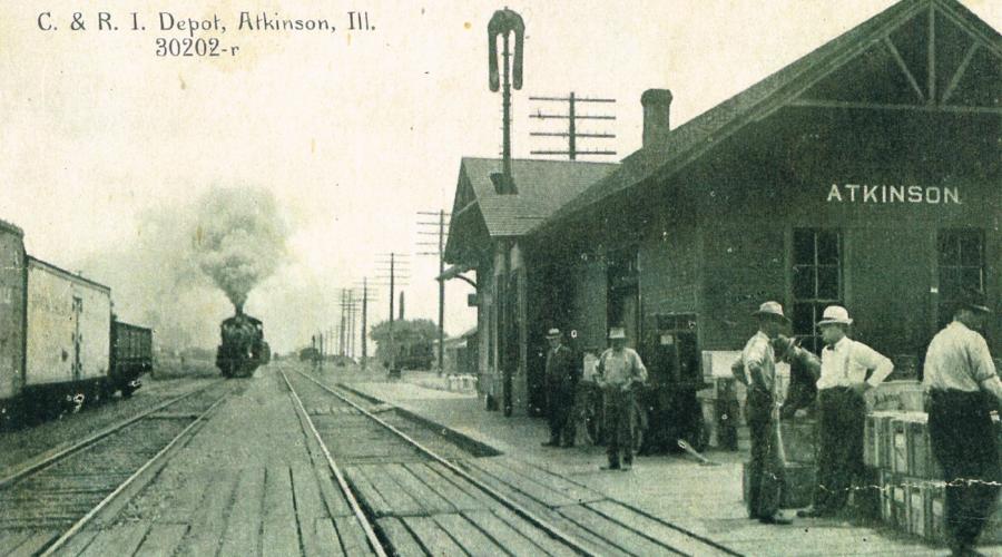 Een trein nadert het station van Atkinson (Illinois), de bestemming van vele Meetjeslandse landverhuizers.[ADVN, VFSCC 58]