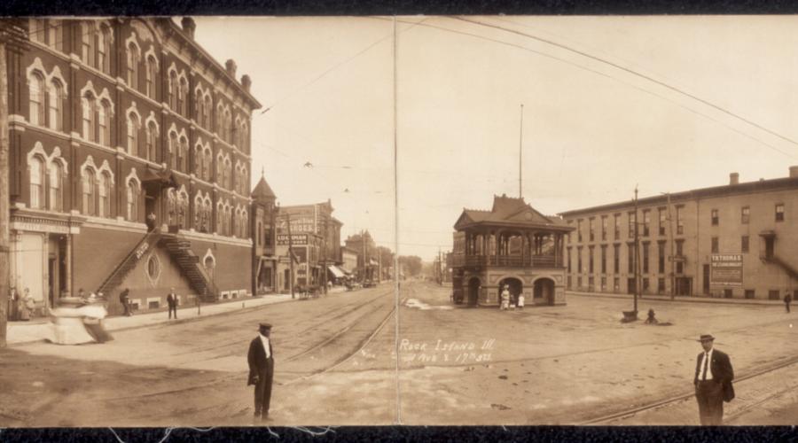 Rock Island (Illinois), hier omstreeks 1907, vormde samen met onder meer Moline de agglomeratie die als de Quad Cities bekend stond. [Washington DC, Library of Congress, Prints and Photographs Division, PAN US GEOG – Illinois no. 30]