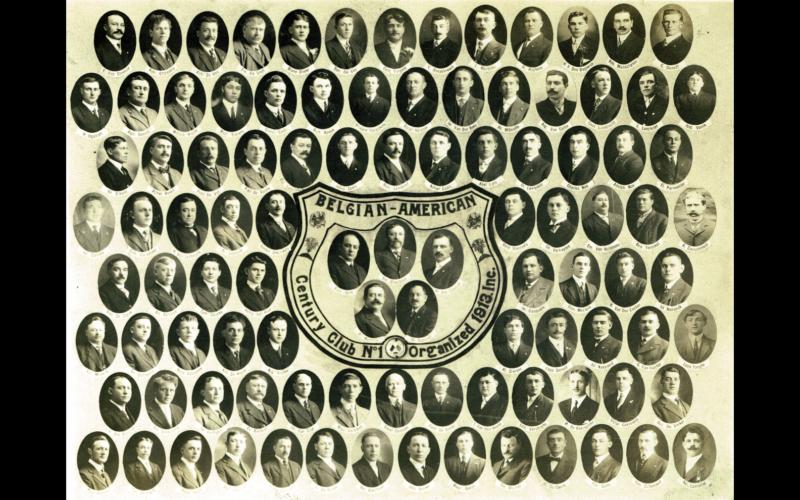 De Belgian-American Century Club N° 1 werd in 1913 in Detroit gesticht en moest te allen tijde honderd Belgische leden tellen. [ADVN, VPR1467]
