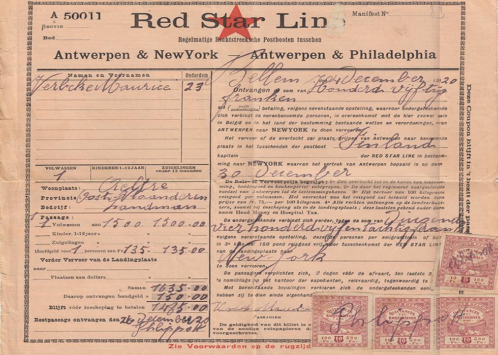 Aalternaar Maurice Verbeke was een van de twee miljoen landverhuizers die de Red Star Line tussen 1873 en 1935 naar Amerika bracht. [Privécollectie Danny en Karen Onderbeke-Neirynck]