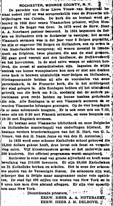 In de Vlaams-Amerikaanse krant De Volksstem werden regelmatig de verschillende Vlaamse en Nederlandse kernen beschreven